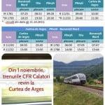 CFR reintroduce de la 1 noiembrie ruta Curtea de Argeș – Pitești