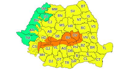 Administrația Națională de Meteorologie a emis două atenţionări meteo Cod portocaliu şi Cod galben de ninsori şi ploi
